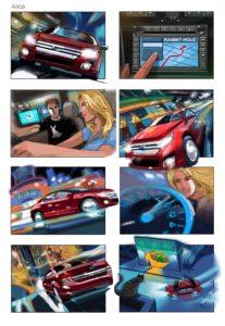 Dave OConnell, Ford, car, Alice in wonderland, Storyboard