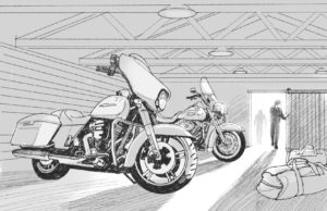 Dave OConnell, Harley Davidson, Digital pencil drawing