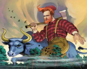 Dave OConnell, Lumber Jack, Conan OBunyan, Conan OBrien art gallery, Illustration