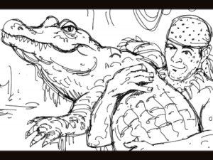 Dave OConnell, Alagator, Duralast, Black & white storyboard