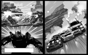 Dave OConnell, GM Transformers, Black & white Storyboard