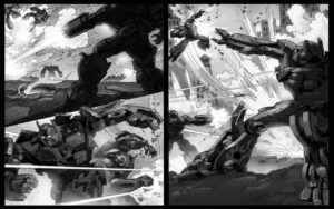 Dave OConnell, Transformers, Black & white Storyboard