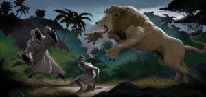 Dave OConnell, Lion attack, Short film prop, Story book Illustration