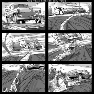 Dave OConnell, Ford F150 truck, storyboard