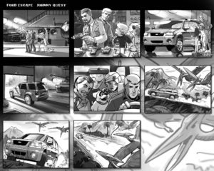 Dave OConnell, Johnny Quest , Cartoon, Ford, Black & white storyboard
